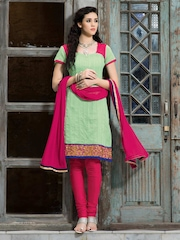 Viva N Diva Women Green & Pink Embroidered Unstitched Dress Material