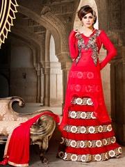 Viva N Diva Women Red Georgette Anarkali Kurta with Dupatta