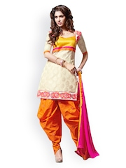 Viva N Diva Women Cream Coloured & Orange Embroidered Patiala Kurta with Dupatta