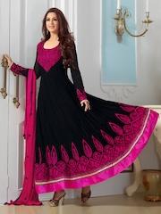 Viva N Diva Women Black & Pink Embroidered Unstitched Dress Material