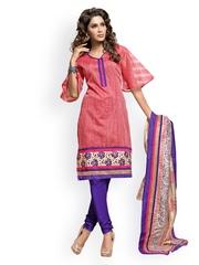 Viva N Diva Women Pink & Purple Embroidered Churidar Kurta with Dupatta
