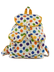 Vogue Tree Unisex White Polka Dot Printed Backpack
