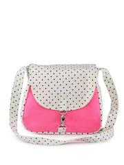 Vogue Tree White & Pink Printed Sling Bag