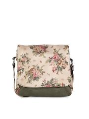 Vogue Tree Beige & Green Printed Sling Bag