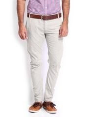 Voi Jeans Men Beige Linen Borris Slim Fit Chino Trousers