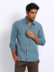 Voi Jeans Men Blue & Grey Checked Slim Fit Casual Shirt