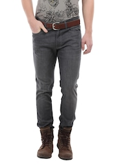 Voi Jeans Men Charcoal Grey Track Skinny Fit Jeans