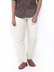 Voi Jeans Men Cream Coloured Linen Blend Trousers