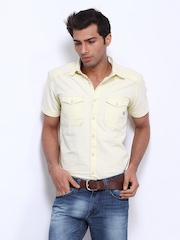 Voi Jeans Men Cream Coloured Slim Fit Casual Shirt