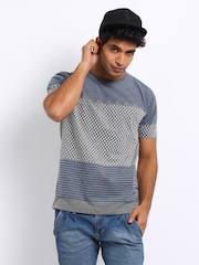 Voi Jeans Men Grey Melange Printed T-shirt