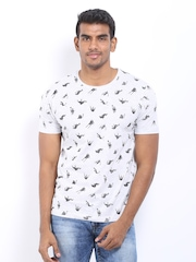 Voi Jeans Men Light Grey Melange Printed T-shirt