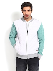 Voi Jeans Men Off-White & Green Sweatshirt
