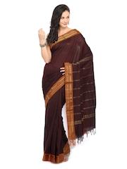 Vritika Brown Cotton Traditional Saree