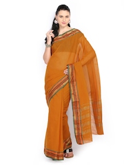 Vritika Orange Cotton Traditional Saree