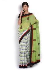 Vritika Green & White Chanderi Cotton Fashion Saree