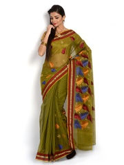 Vritikia Green Embroidered Art Silk Fashion Saree