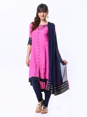 Wishful by W Women Pink & Navy Churidar Kurta with Dupatta