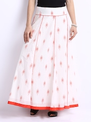 W White Printed Maxi Skirt