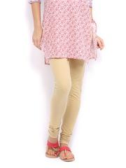 W Women Beige Cotton Churidar Leggings