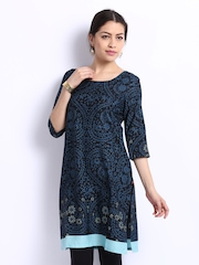 W Women Black & Blue Printed Kurta