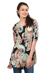 W Women Black & Orange Paisley Pop Printed Kurti