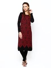 W Women Black & Red Winter Kurta