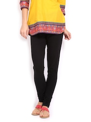 W Women Black Churidar Leggings