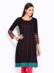 W Women Black Embroidered Kurta