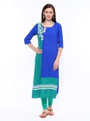 W Women Blue & Green Kurta