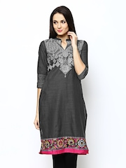 W Women Grey Printed Kurta