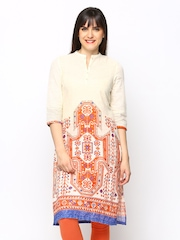 W Women Cream Coloured Printed Kurta