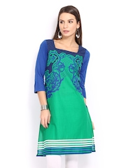 W Women Green & Blue Printed Kurta