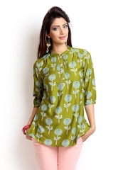W Women Green Printed Kurti