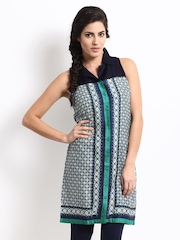 W Women Blue & Green Printed Kurta