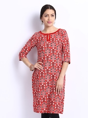 W Women Red Printed Kurta