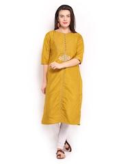W Women Mustard Yellow Heritage Kurta