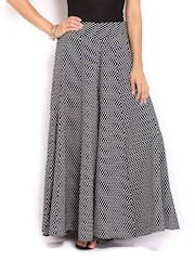 W Women Navy & Off-White Printed Palazzo Trousers