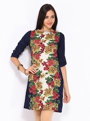 W Women Navy & Green Printed Kurta