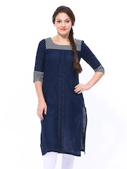 W Women Navy Kurta