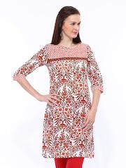 W Women Off-White & Orange Printed Kurta