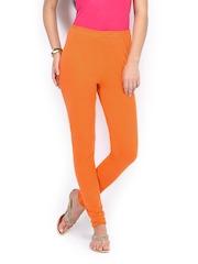 W Women Orange Cotton Stretch Churidar Leggings