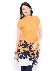 W Women Orange Painted Kurta