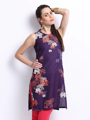 W Women Purple Printed Kurta