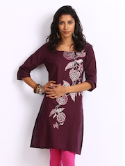 W Women Burgundy Printed Kurta