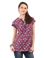 W Women Red & Blue Printed Kurti