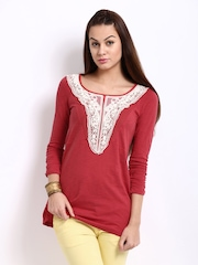 W Women Red Laced Top