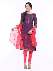 Wishful by W Women Purple & Pink Printed Churidar Kurta with Dupatta