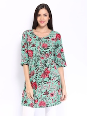 W Women Sea Green Printed Kurta