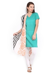 W Women White & Black Printed Dupatta