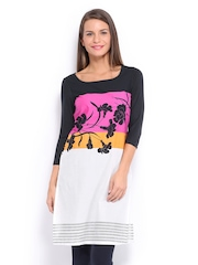 W Women White & Black Printed Kurta